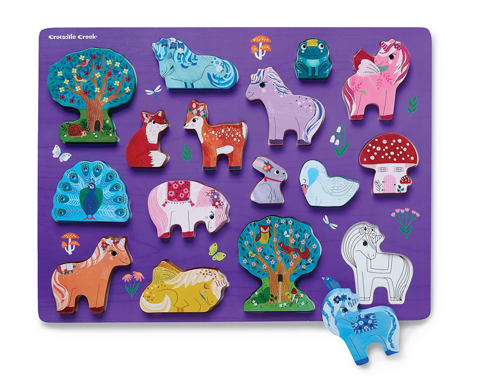 Crocodile Creek Puzzle Madera Unicornio