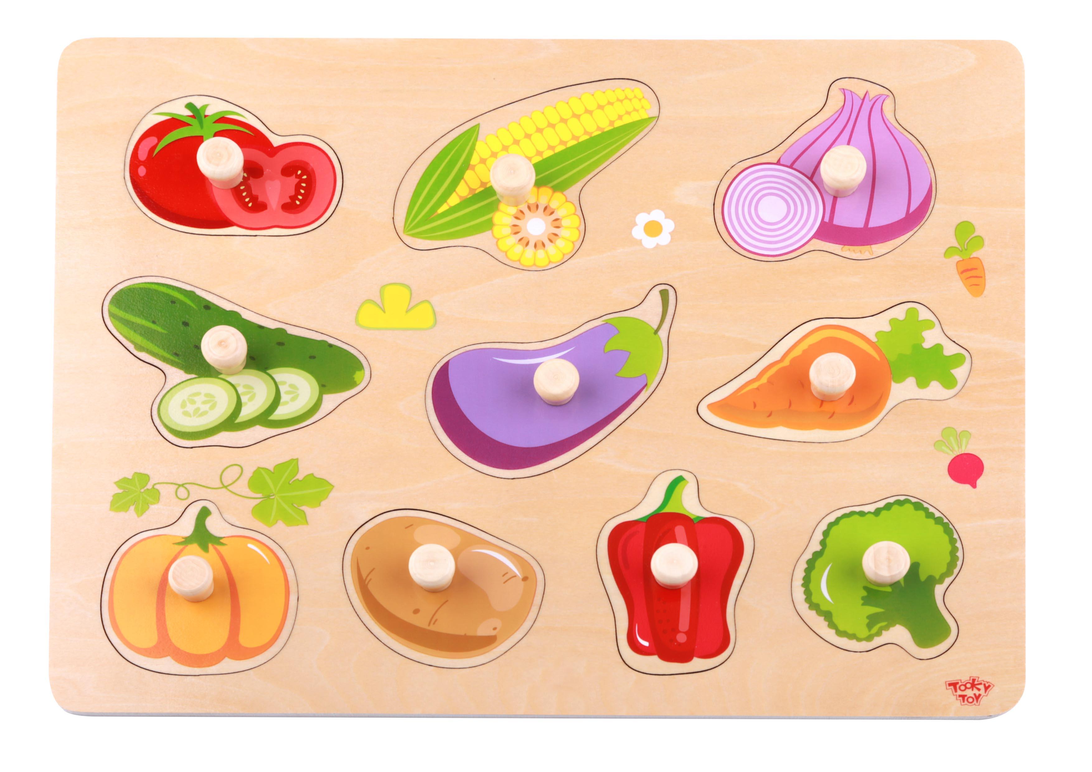 Tooky Toy Puzzle Madera Verduras